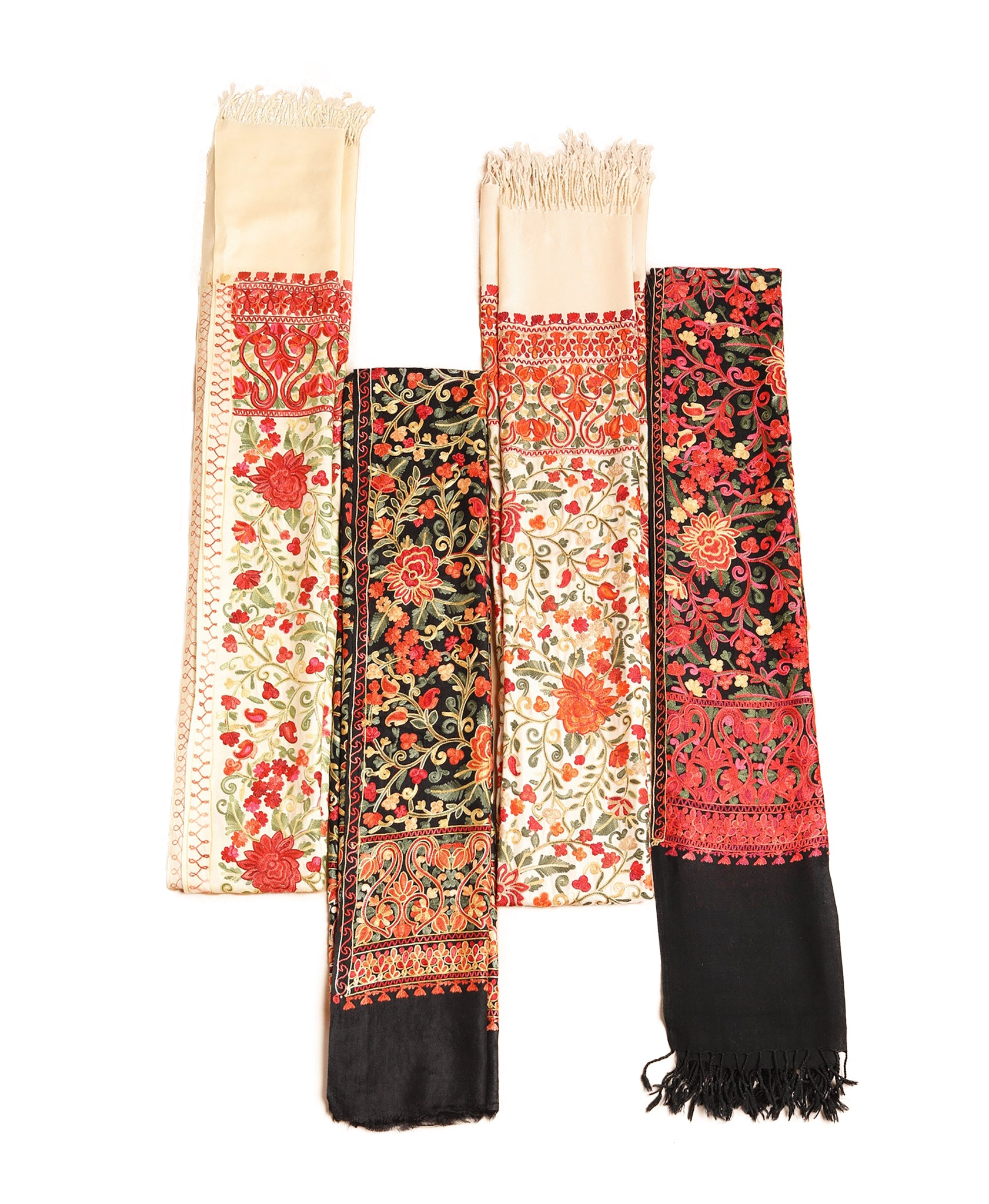Colorful Floral Embroidery Cashmere Stole