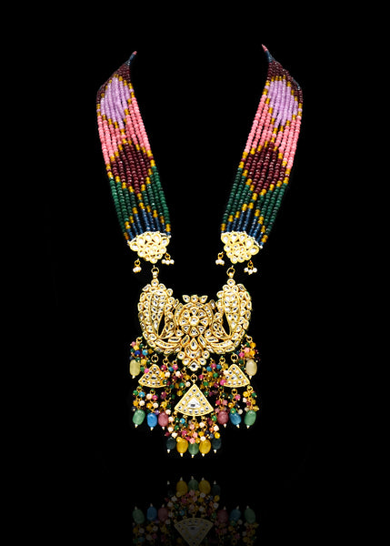 Leela Multicolor Beaded Kundan  Haar Set - The Pashm
