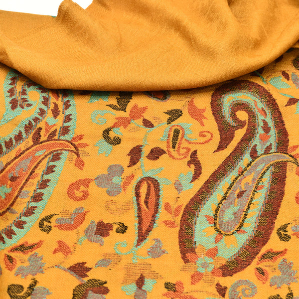 Colorful Paisley Border Kani Pashmina Shawl