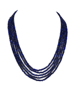 Nino Navy Blue Bead Necklace - The Pashm