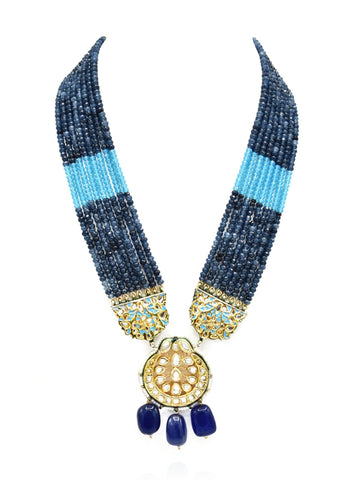 Noor Collar Kundan Blue Set - The Pashm