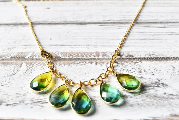 Gold-Tone Ombre Stone Drop Necklace