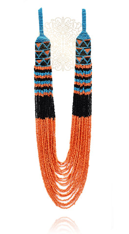 Sasha Hand Knitted Bead Necklace - Orange