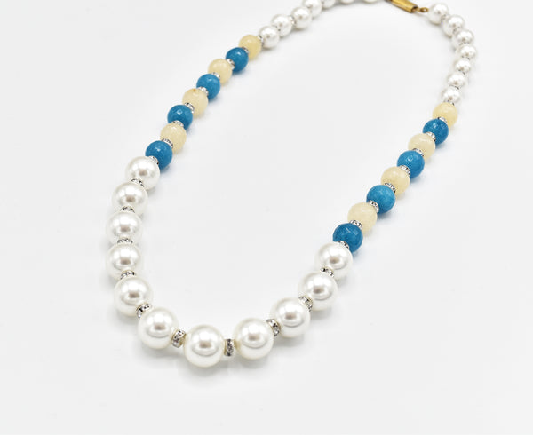 Tisha Pearl Sky Blue Beads Necklace - The Pashm