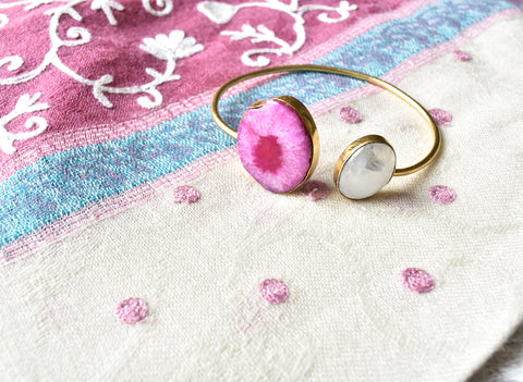 Pink Agate Moonstone Cuff