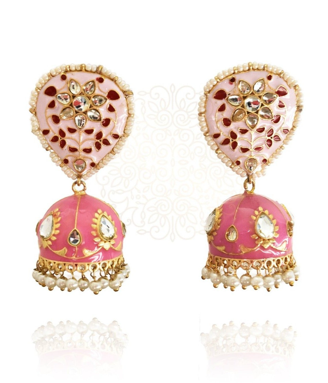 Gulnar Pink Enameled Jhumka Earrings - The Pashm