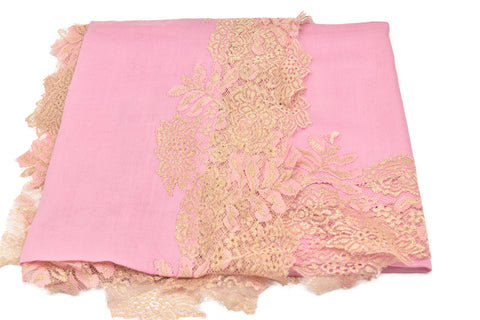 Shimmering French Lace Border Pashmina Shawl