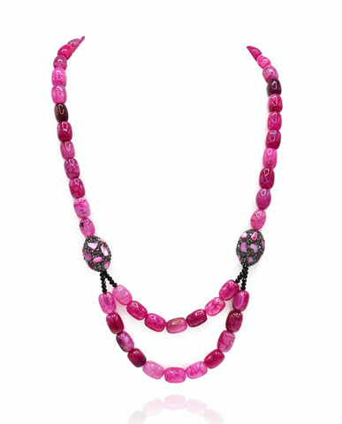 Victoria Pink Stone Beads Necklace - The Pashm