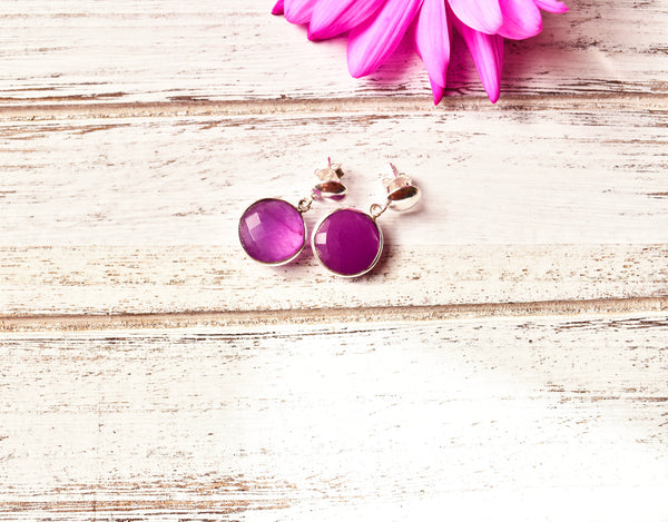 Natural Gemstone Round Earrings