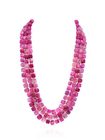 Zaina Pink Stone Square Beads Necklace - The Pashm