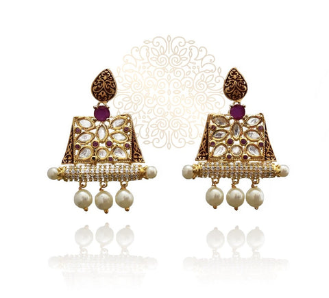 Nazia Kundan Meena Earrings  - The Pashm