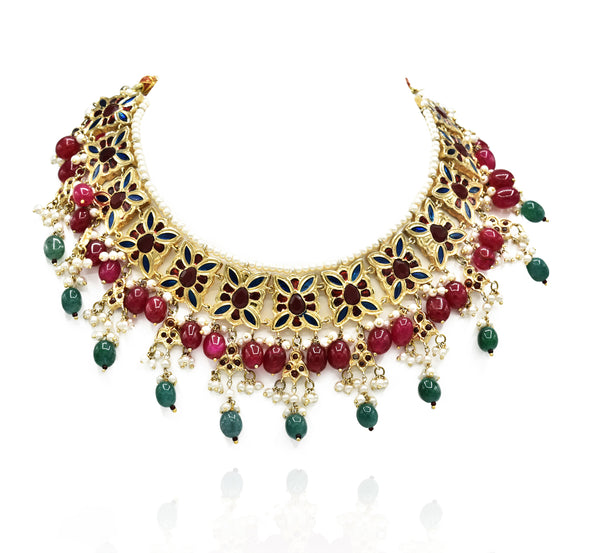 Malika Enameled Kundan Set - The Pashm