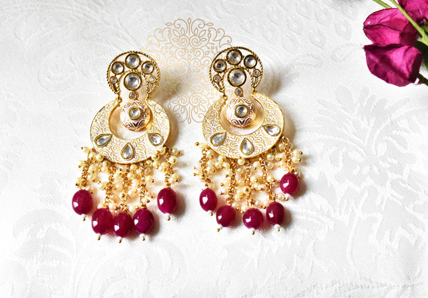 Mahreen Kundan Mint Traditional Earrings - The Pashm