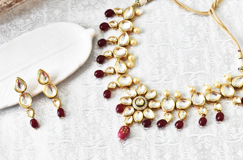 Azra Kundan Set - Red
