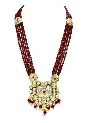 Sakeenah Kundan Necklace Set - Red _ The Pashm