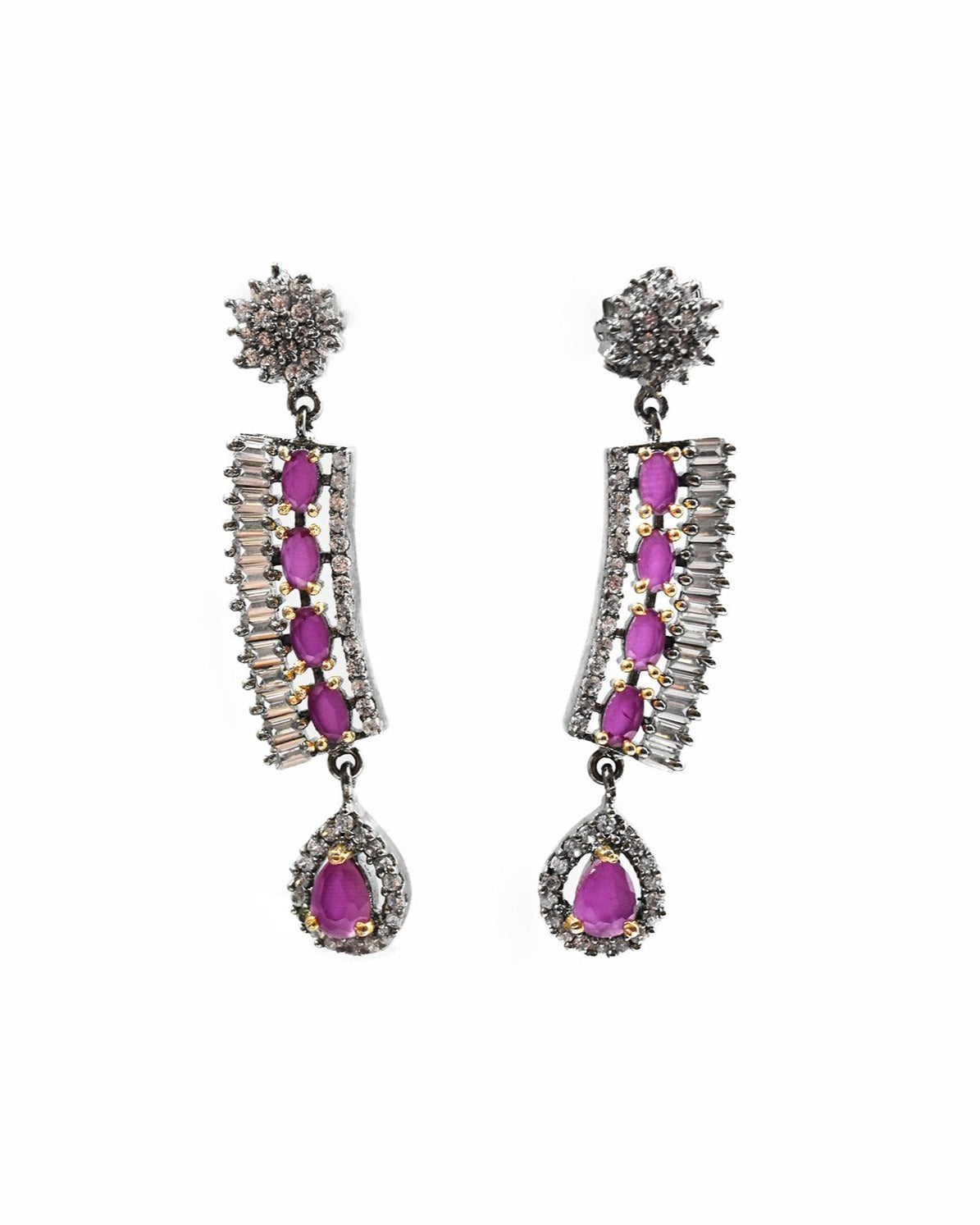 Pipi CZ Ruby Earrings - The Pashm