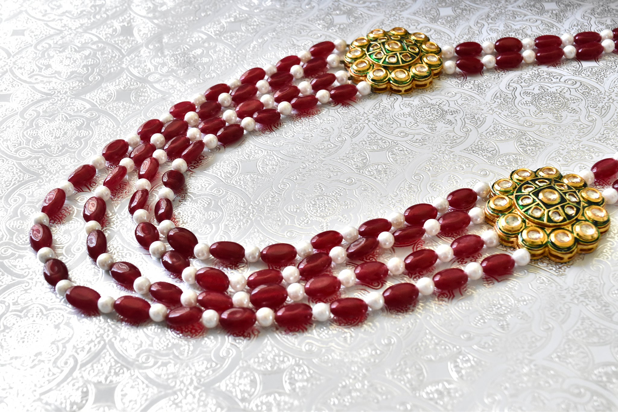 Shahnoor Pearl Ruby Set - The Pashm