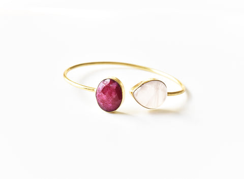 Dyed Ruby Moonstone Cuff