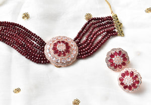 Rabeel CZ Pendant Choker Set - The Pashm