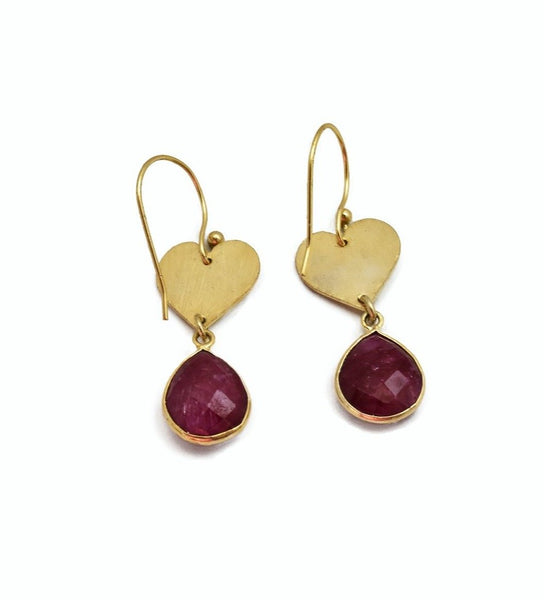 Dyed Ruby Heart Earrings - The Pashm