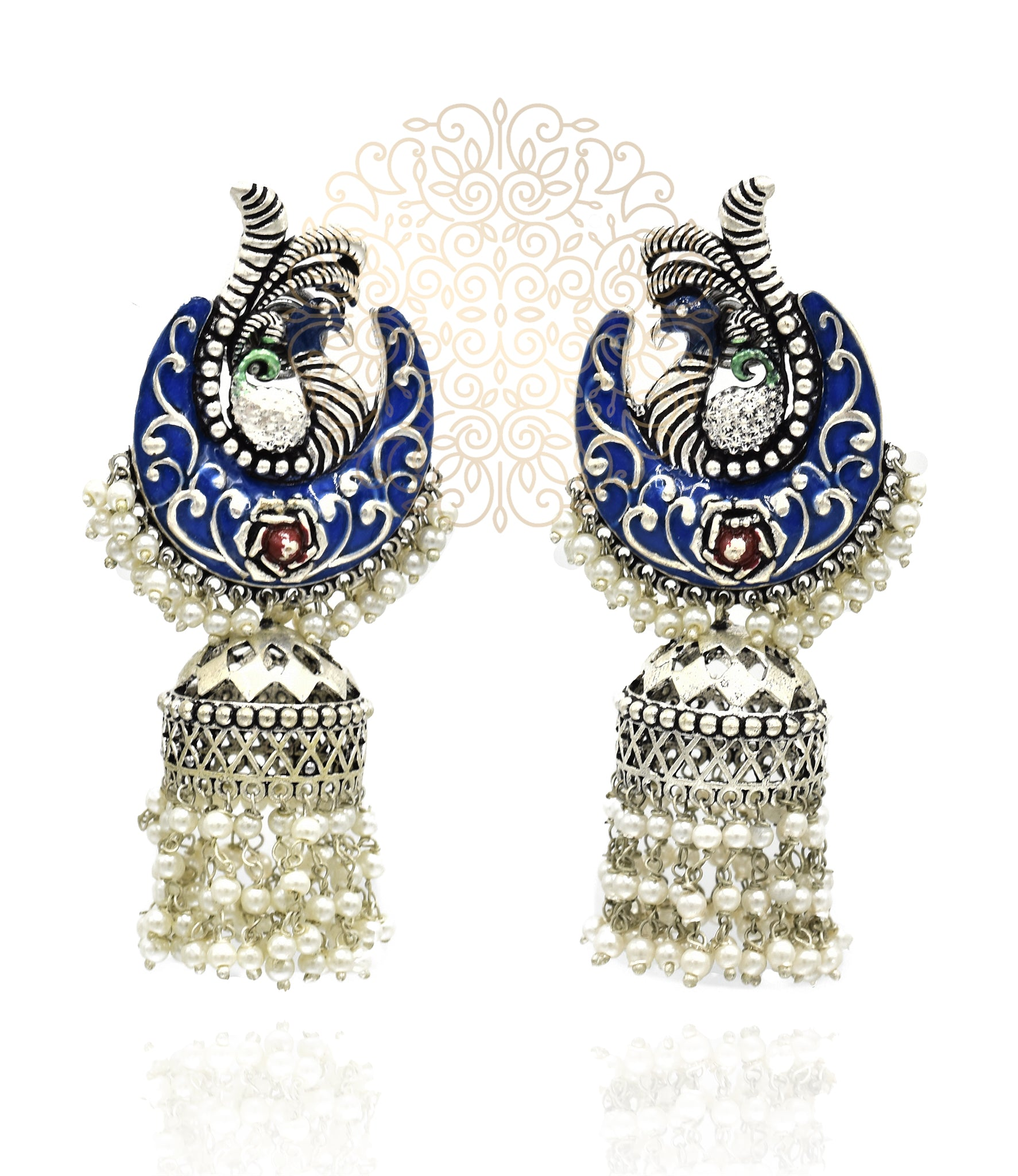 Kruttika Hand Painted Silver Earrings - Blue - The Pashm