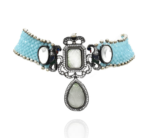 Aditi Sky Blue Beaded Choker Set - The Pashm