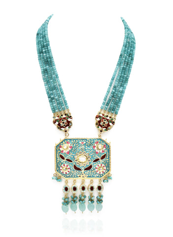 Aarohi Teal Beaded Meenakari Set - The Pashm