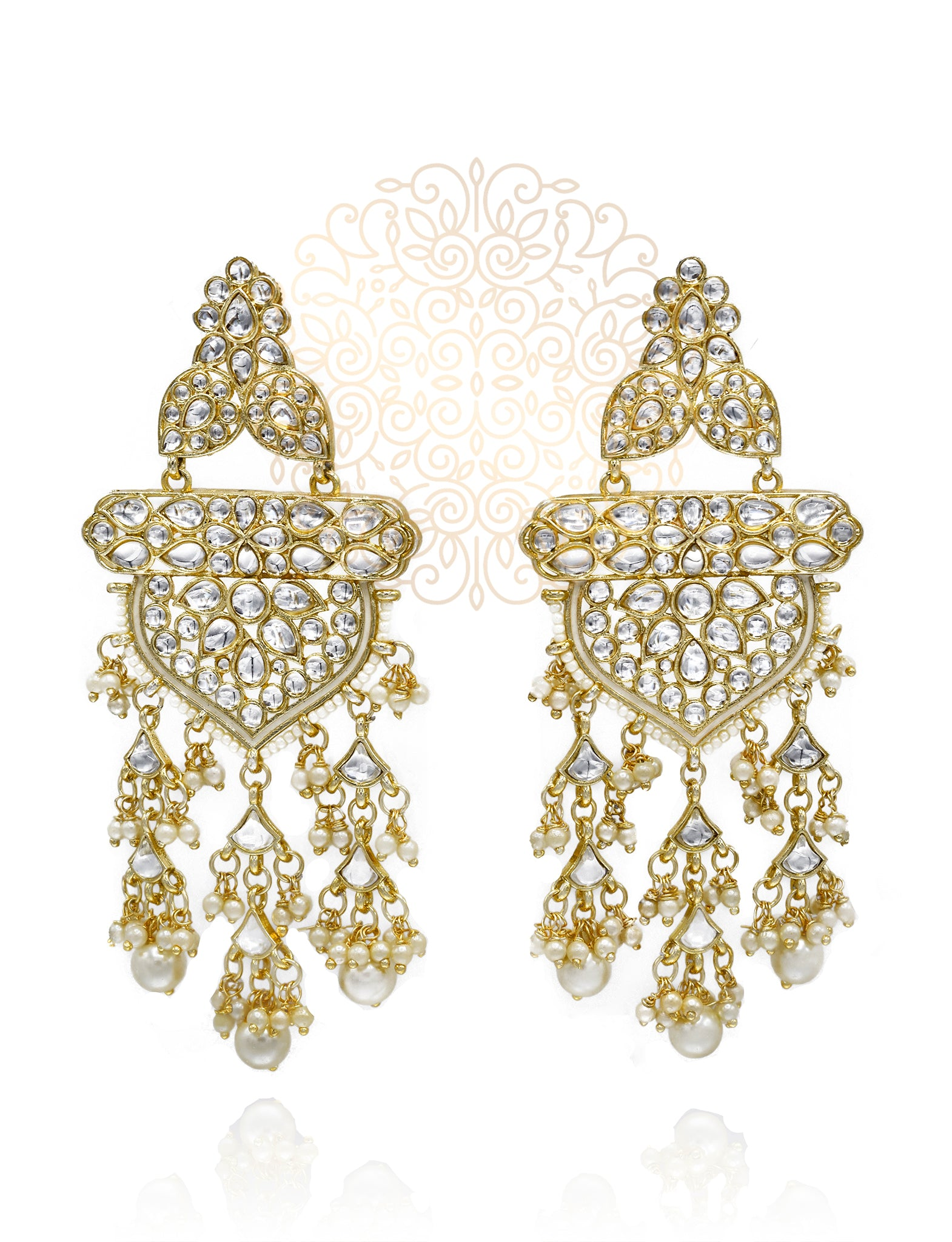 Taheera Pearl Tassel Kundan Earrings - The Pashm