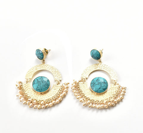 Turquoise Pearl Round Earrings