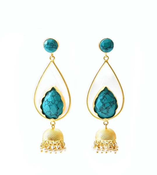 Turquoise Jhumki Earrings