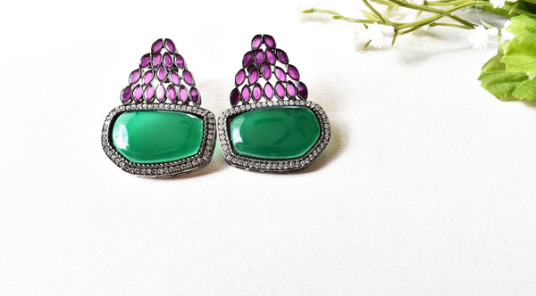 Victorian Style Studded Cabochon Earrings - The Pashm