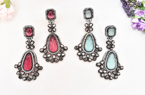 Vintage Studded Long Earrings - The Pashm