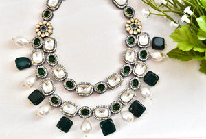 Kundan Green Drops Necklace