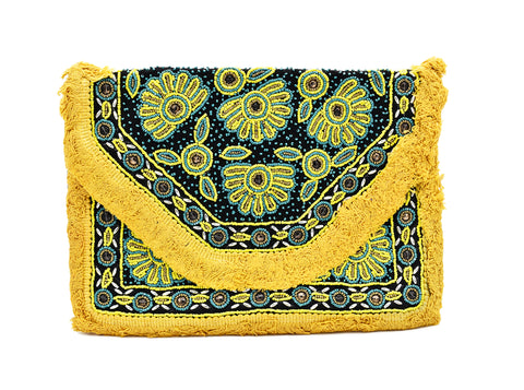 Clover Boho Embroidered Bead Bag - The Pashm