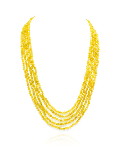 Zeta Yellow Bead Necklace Set - The Pashm