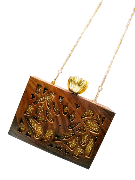 Sequin Carved Wooden Bag - The Pashm
