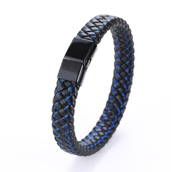 Fashion Braided Black Blue Leather Bracelet Men Stainless Steel Magnetic Clasp Charm Bangles Male Wrist Band Gifts