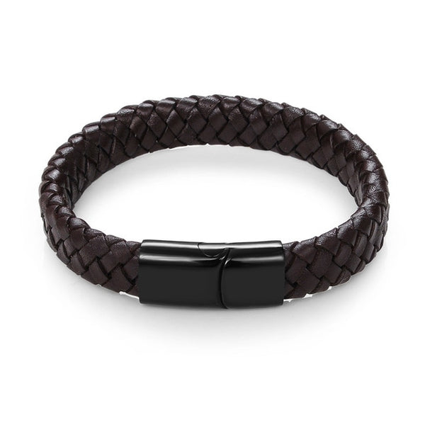 Men Jewelry Black/Brown Braided Leather Bracelet Stainless Steel Magnetic Clasp Fashion Bangles 18.5/22/20.5cm