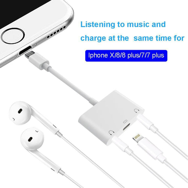 Audio Charger Adapter For Apple Lightning to 3.5mm Double Headphone Jack Adapter Couples Splitter