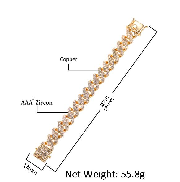 14mm Cubic Zircon Prong Cubans Link Necklace Gold Silver Plated Luxury Copper Micro Paved CZ Cuban Chain  16/18/20/22/24inch