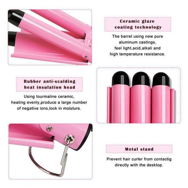 New Arrival Hair Curling Iron LED Ceramic Triple Barrel Hair Curler Irons Hair Wave Waver Styling Tools Hair Styler Wand