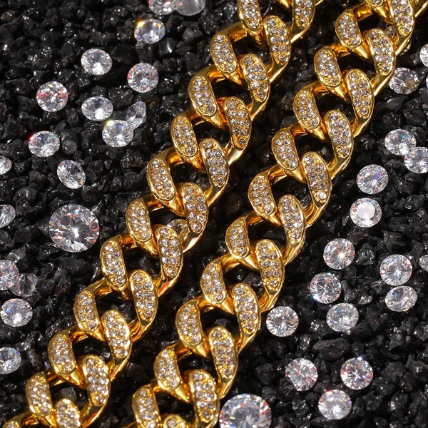 13mm Cuban Miami Link Rhinestones Necklace Chain Full Bling Bling Punk Choker Bling Bling Charms Hiphop Jewelry