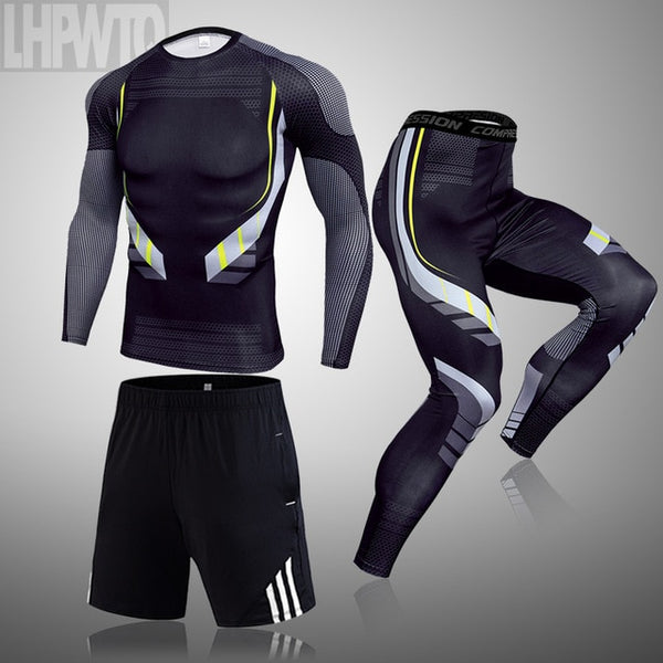 3-piece sets Compression Suits Men's Quick Dry set