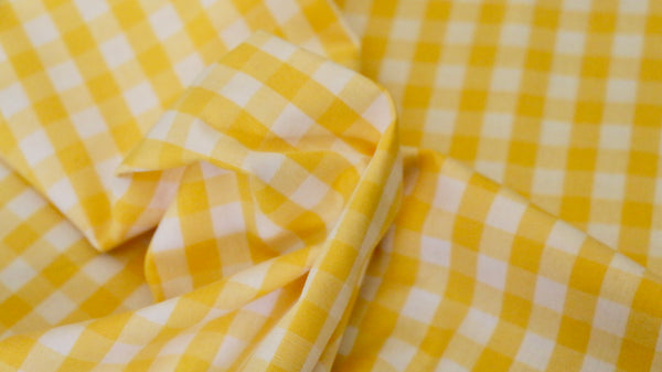 100% COTTON FABRIC - 1cm Gingham Design - Yellow and off white