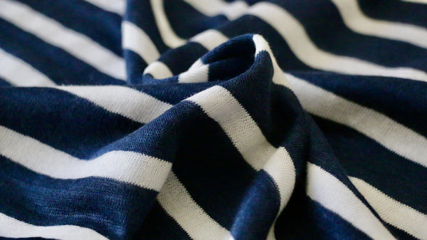 LINEN JERSEY FABRIC - Stripe design -  Navy blue and off white