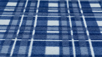 REMNANT 0.35m x 1.50m - FLEECE FABRIC - Blue & White Check Design - Medium Weight