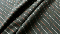 REMNANT 0.55m x 1.50m - WOOL VOLTAIRE - Stripe design - Black, burned orange and grey - Wool  blend