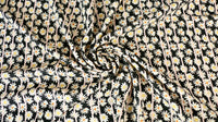 REMNANT 0.50m x 1.50m - VISCOSE CHALLIS FABRIC - Daisy design - Black, off white and pale pink
