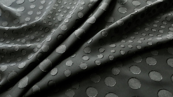FLOCKED DOT CHIFFON FABRIC - Raised dot design - Black colour
