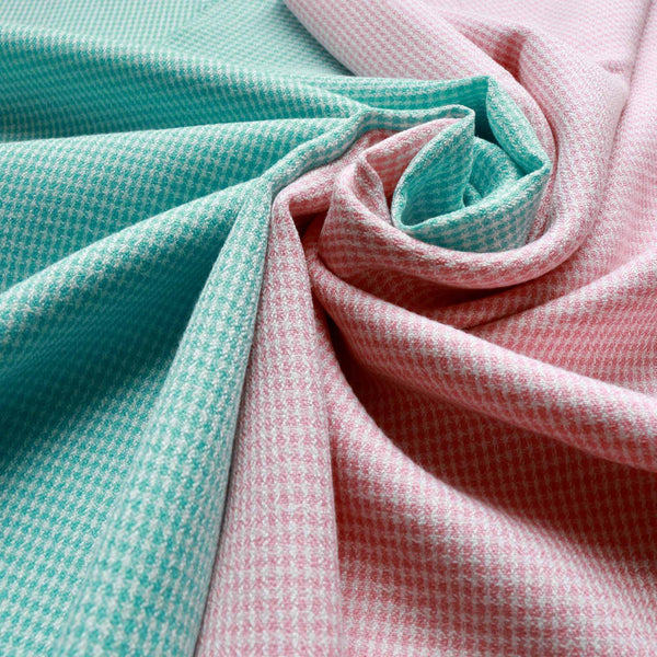 CREPE FABRIC - Small check design - Viscose blend - Available in pale pink and mint green